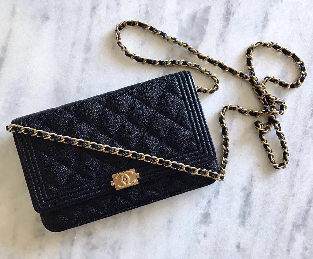 de4cb3f3f601e3 Chanel 'Boy' Wallet on Chain in black caviar with gold hardware ...