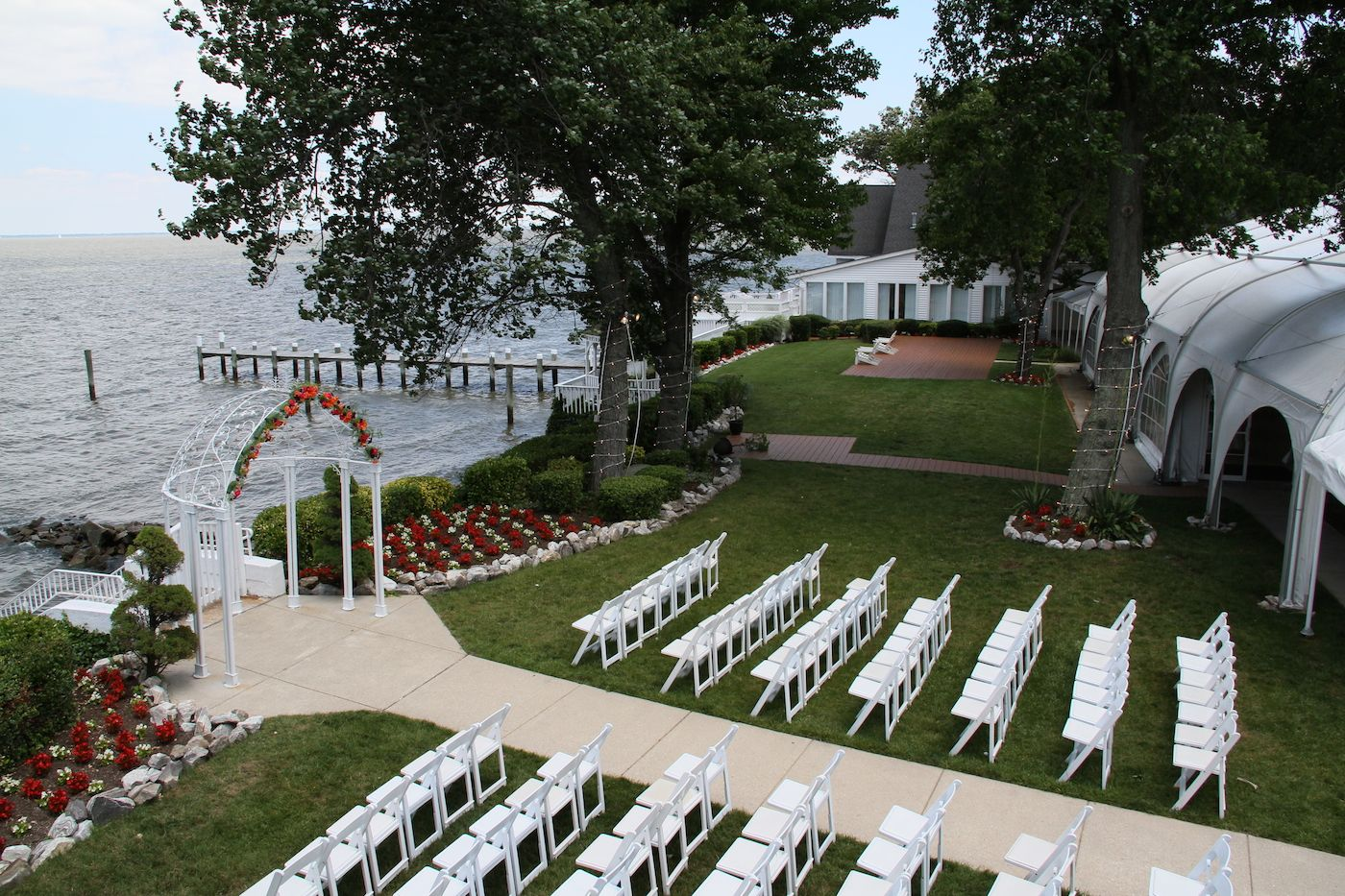 This Is The Preparation For An Outdoor Wedding Held At Celebrations Bay Chesapeake