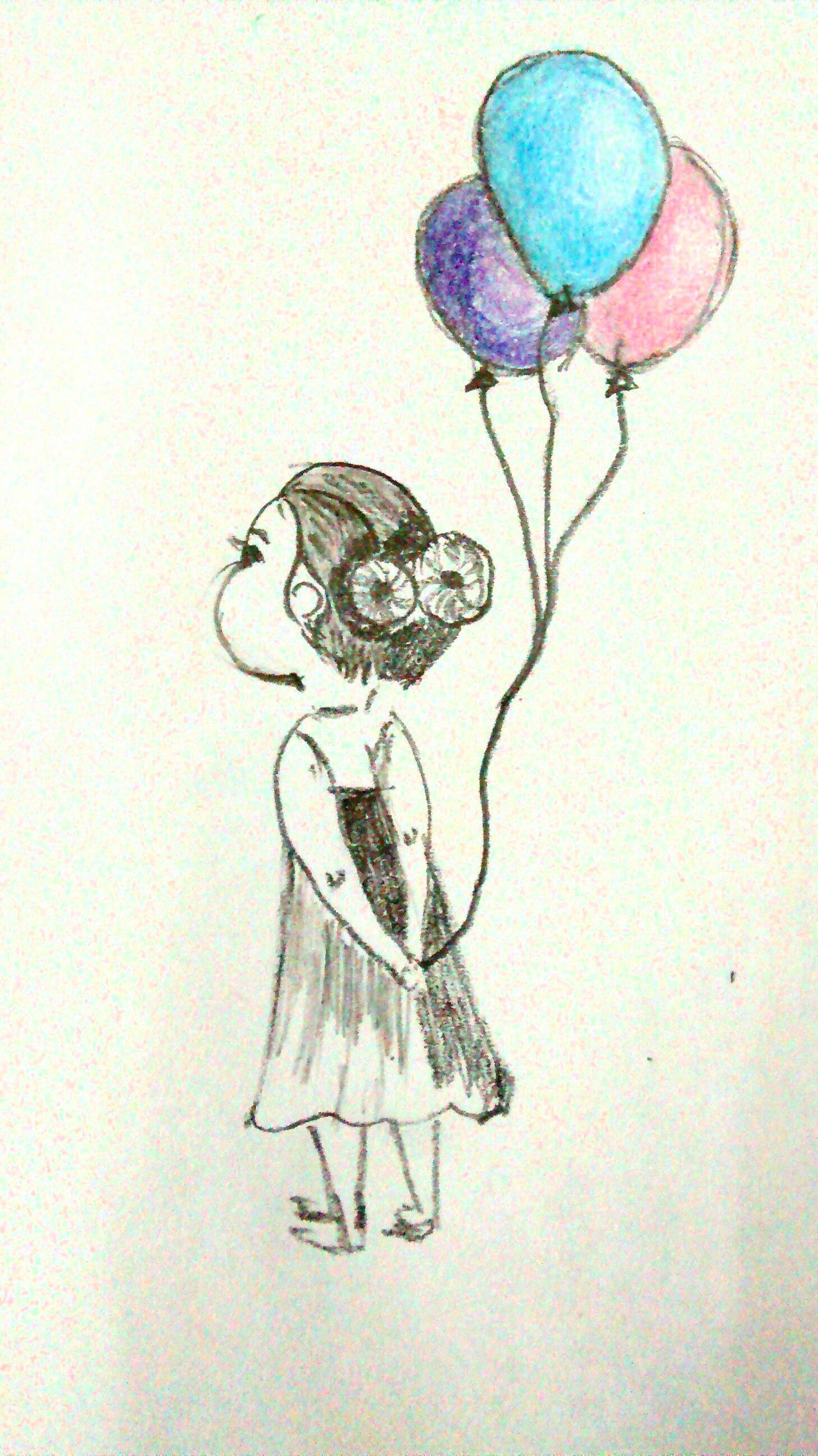 Balloons colors pencil sketches fine art artist in