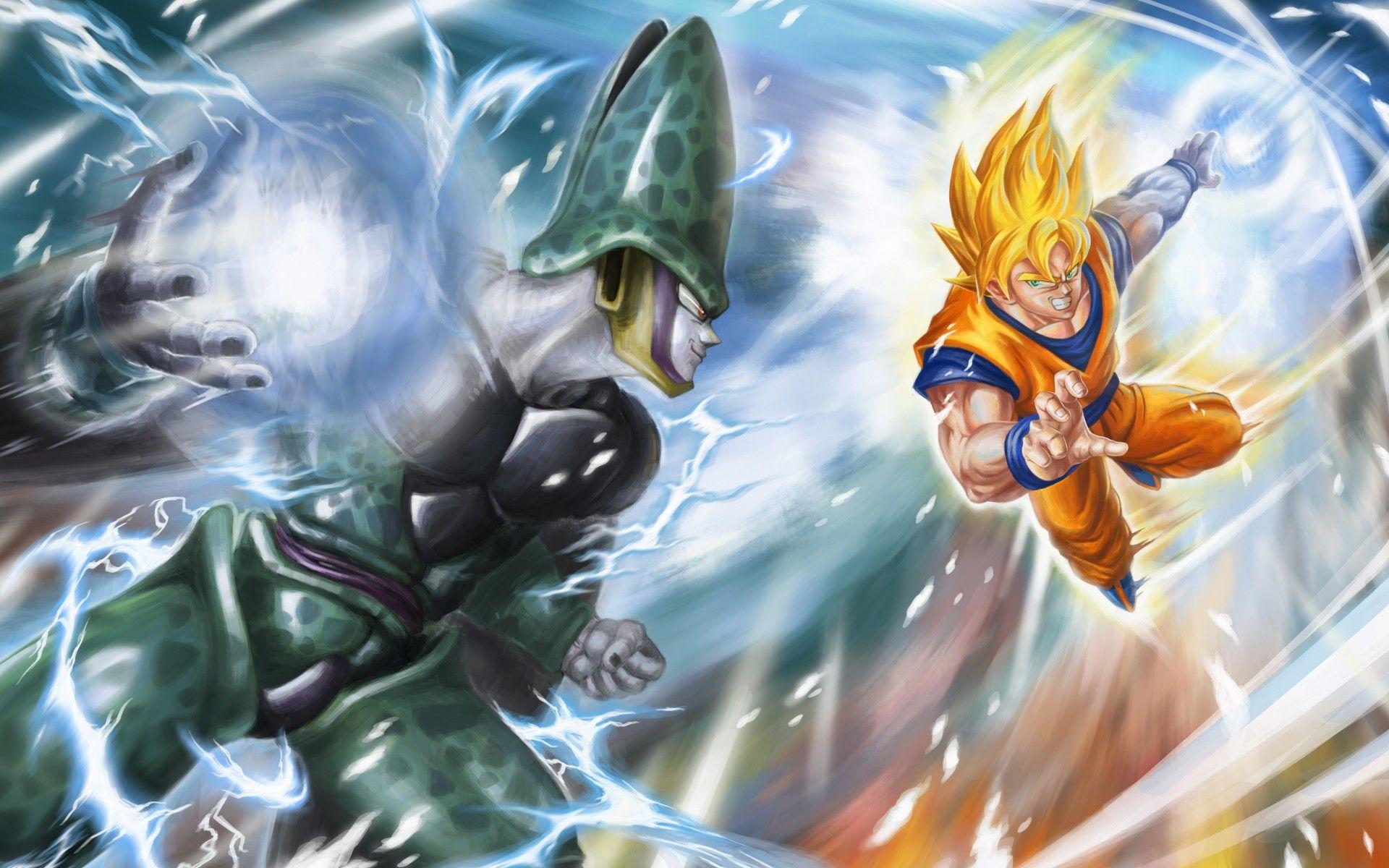 Google chrome themes dragon ball z - Dragon Ball Z Goku Super Saiyan Vs Cell Perfect Form Wallpaper