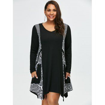769dc4e3571 Plus Size Long Sleeve Asymmetrical Tee Dress with Pockets
