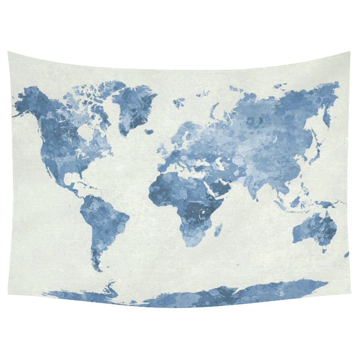 World Map Blue Cotton Linen Tapestry Wall Hanging Art New Place - Cloth world map wall hanging