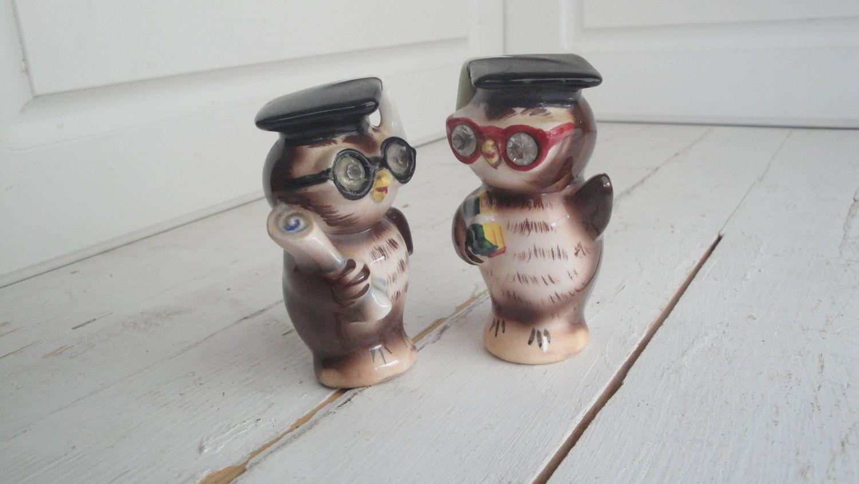 Vintage Lefton Owl Salt Pepper Set Graduation by CraftySara on Etsy