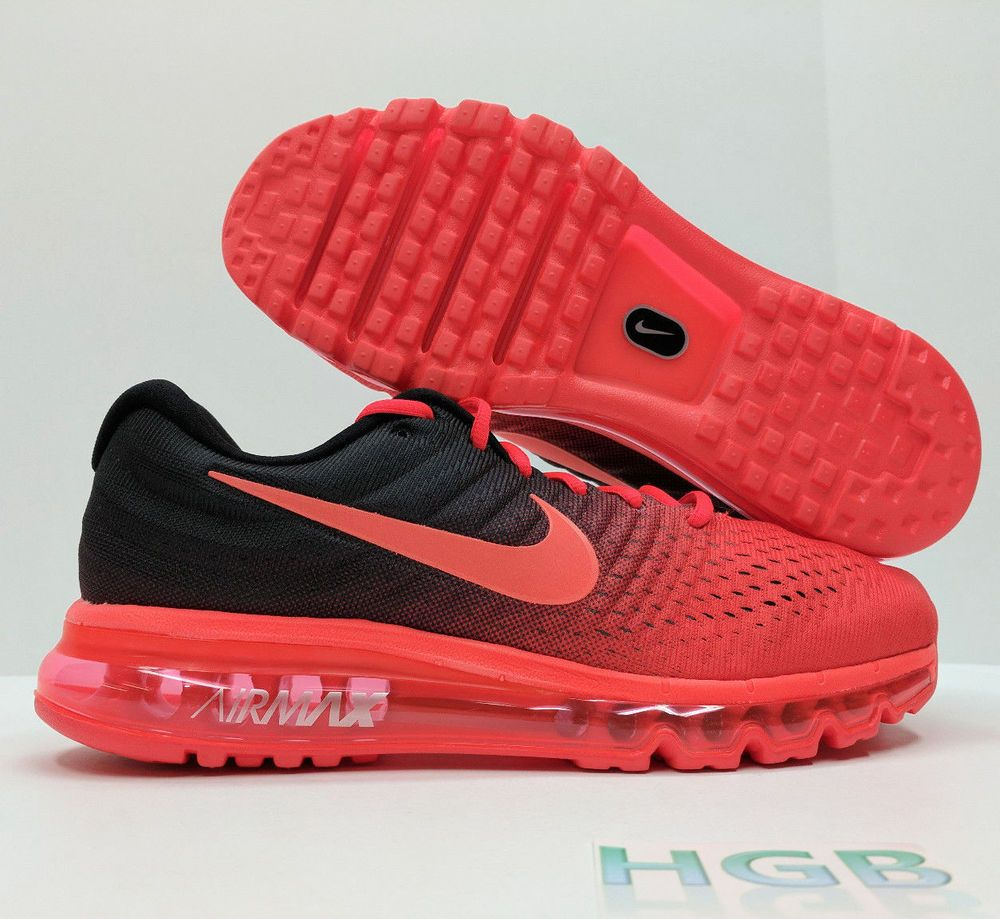 competitive price 3108a 63eda Details about Nike Air Max 2017 Mens Black Red Crimson Running Training  Shoes 849559-600