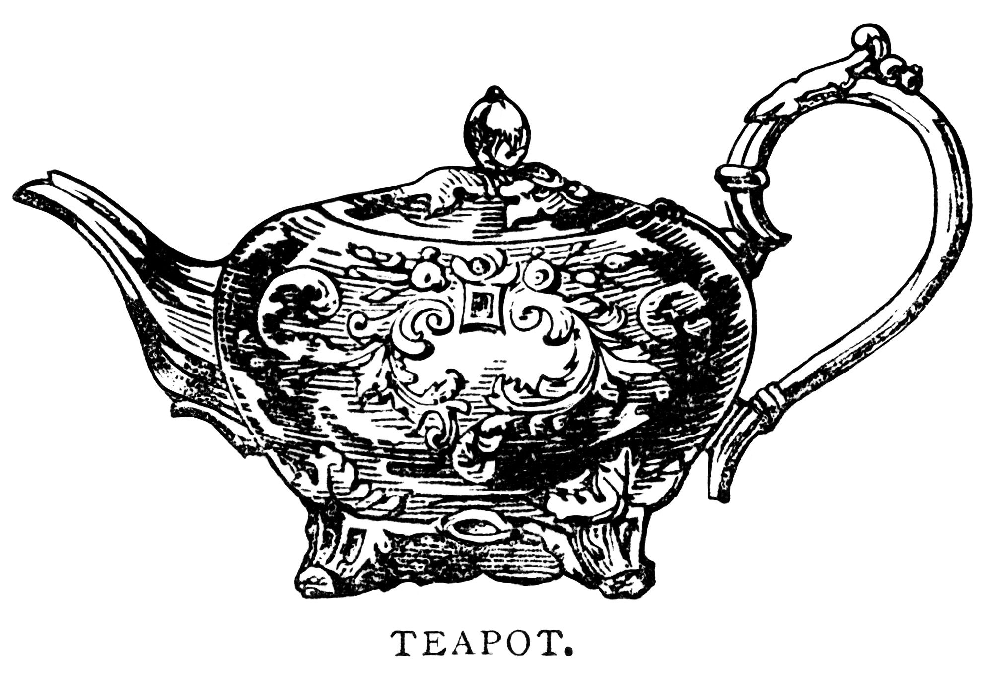 Teapot Clip Art Black And White Graphics Vintage Tea Pot