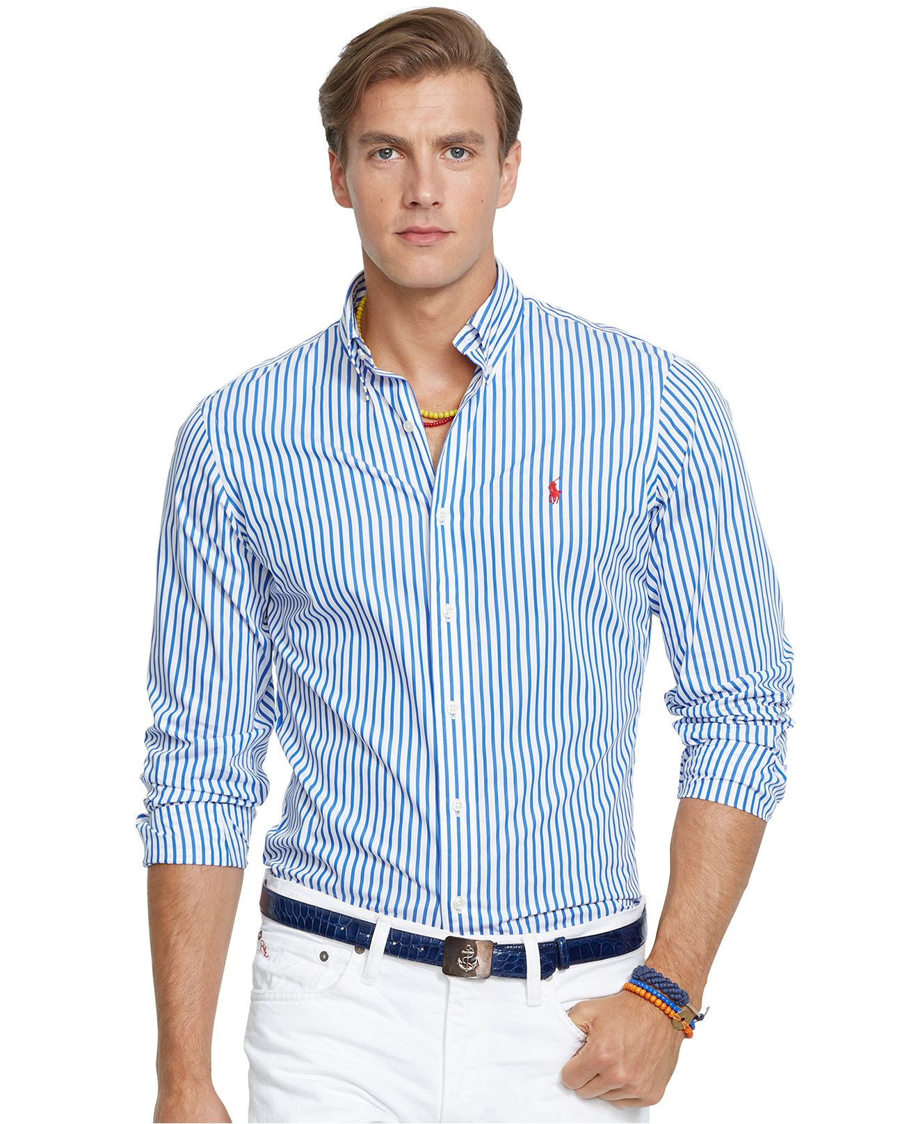 0612dbd9 Polo Ralph Lauren Striped Poplin Shirt - Casual Button-Down Shirts - Men -  Macy's
