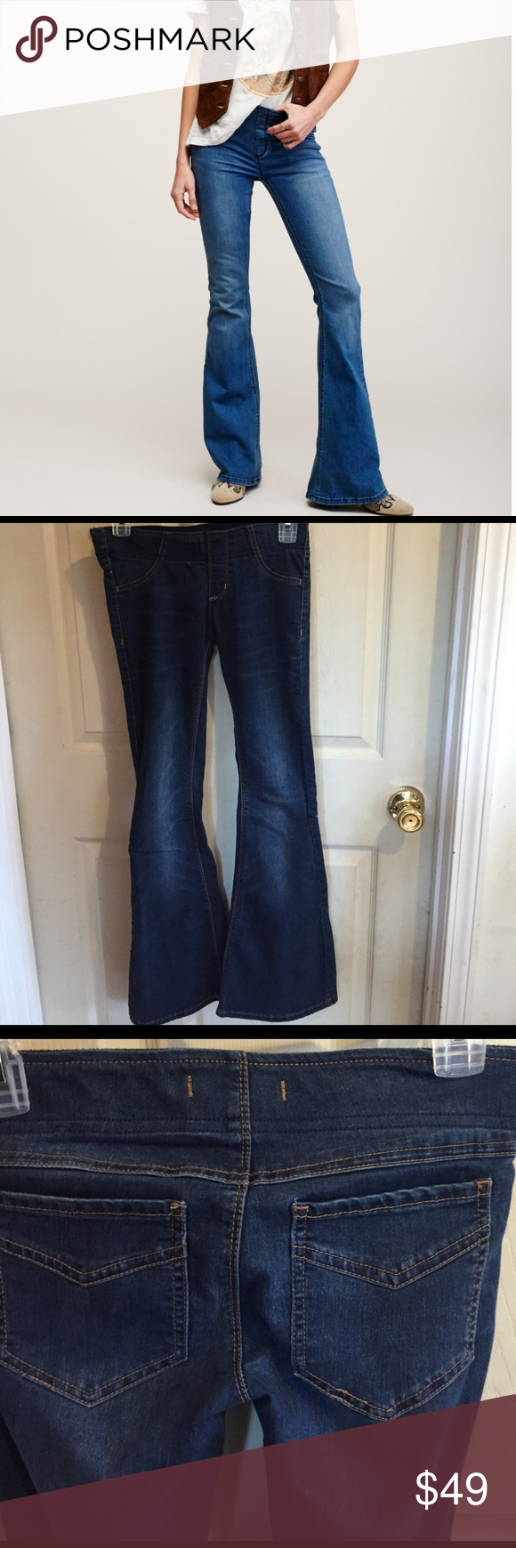 """Free People Pull On Kick Flare Size 25 Short. Cotton/polyester/spandex blend. Waist is about 14"""" flat no dip; rise is about 7""""; inseam is about 30""""; ankle is about 10"""" flat. Very snug fit, and run a bit small. Gently preowned. Free People Jeans Flare & Wide Leg"""