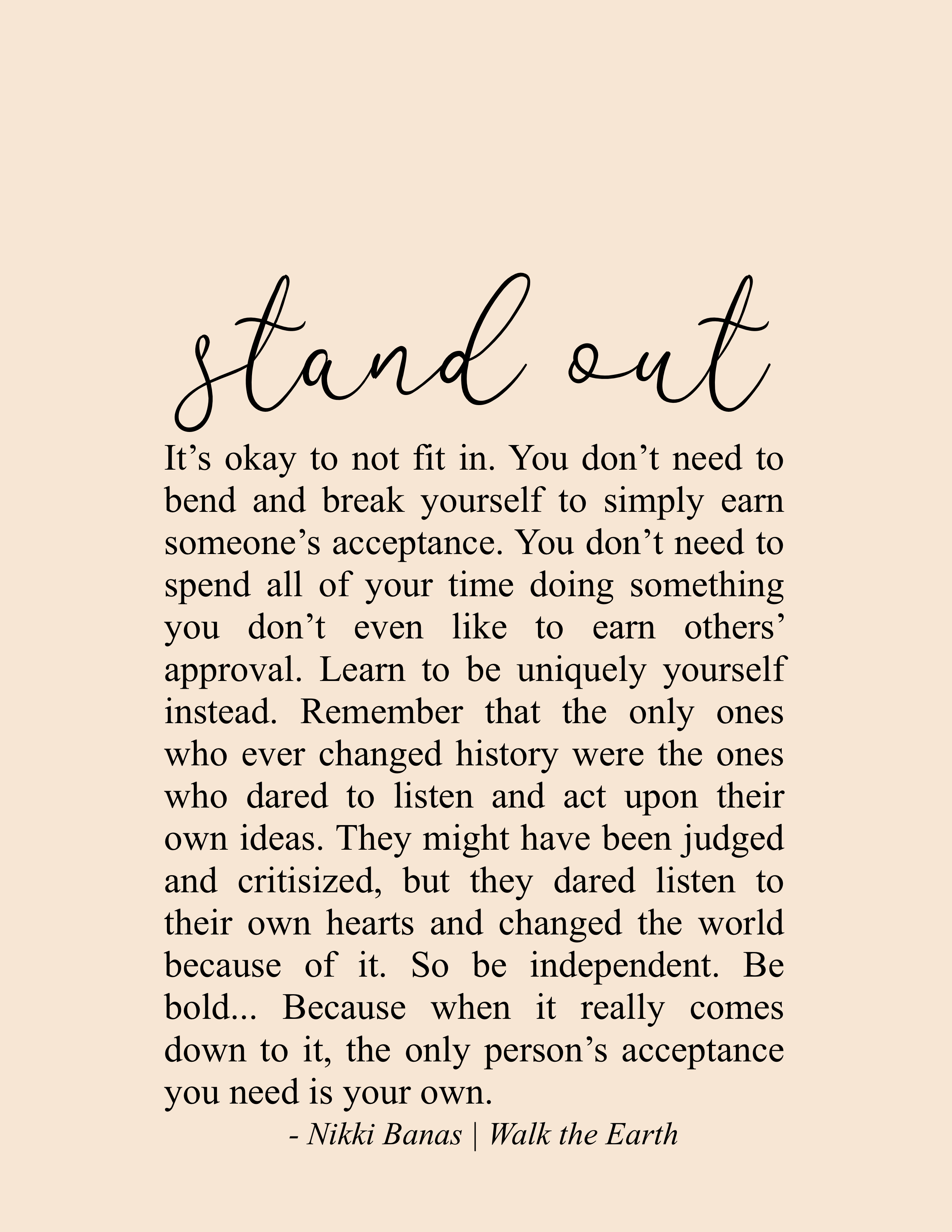 Stand Out Quotes, Standing Out from the Crowd, Be Yourself Poetry & Quotes, Inspiring Messages