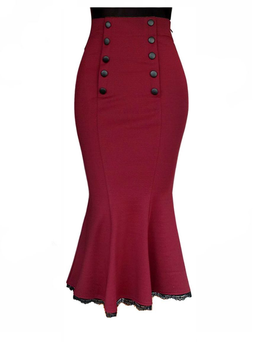 187e70c27b Double Button Red High Waist Fishtail Wiggle Skirt - Modern Grease Clothing  and Accessories Co.