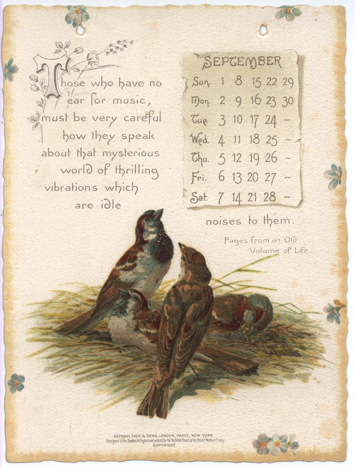 Oliver Wendell Holmes Calendar For 1895 With Images Vintage