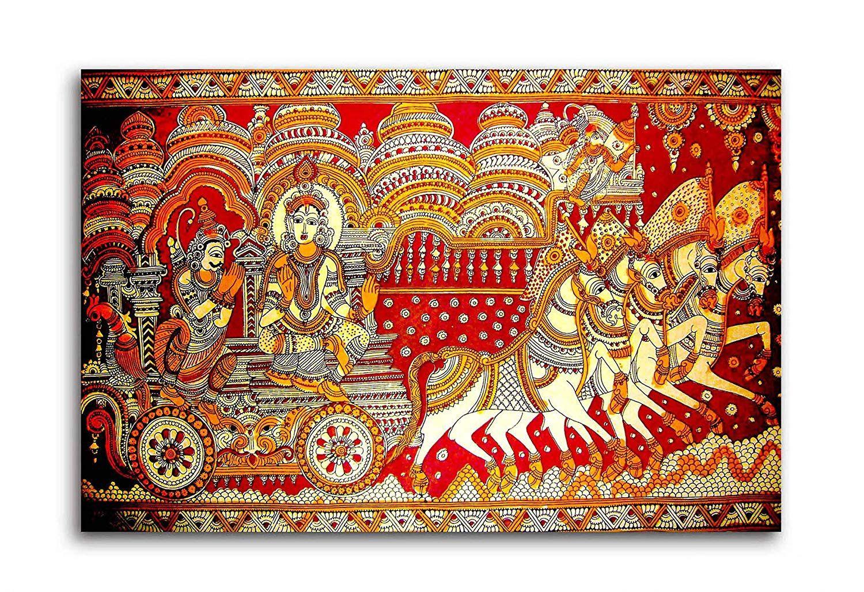 Religious Canvas Roll Rolled Madhubani Canvas Print Unframed Krishna with Radha Indian Art- Radha Krishna Rajasthani Paintings