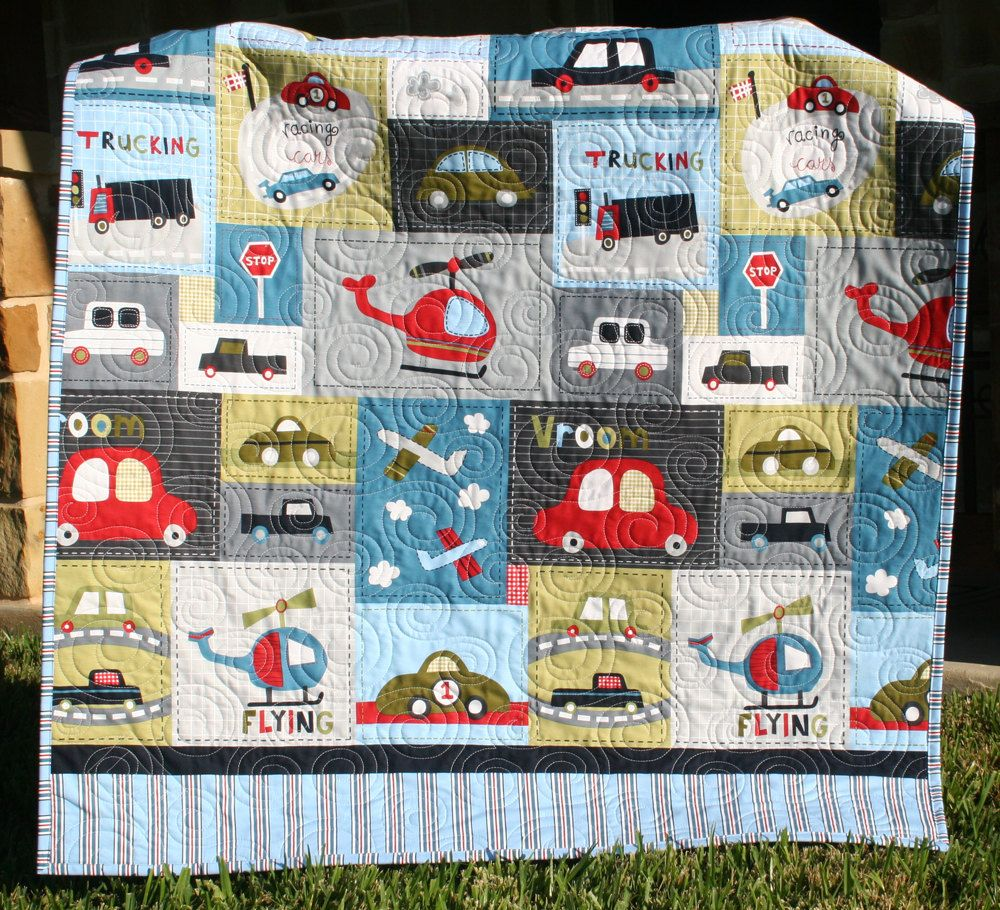 Vroom Baby Boy Quilt Toddler Vehicles Trucks Cars Airplanes ... : baby boy quilt fabric - Adamdwight.com