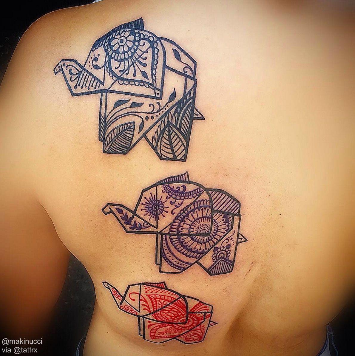 Origami Styled Elephants With Mandala Patters Tattoo Inspiration