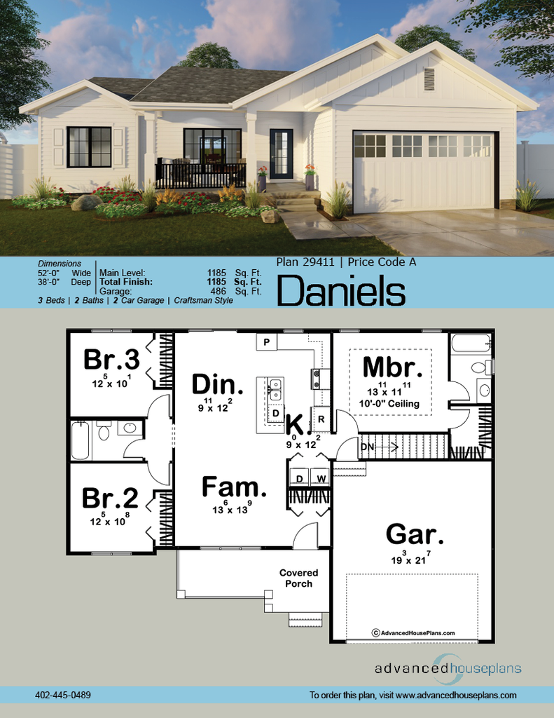 1 Story Modern Farmhouse House Plan Daniels House Plans Farmhouse New House Plans House Plans One Story