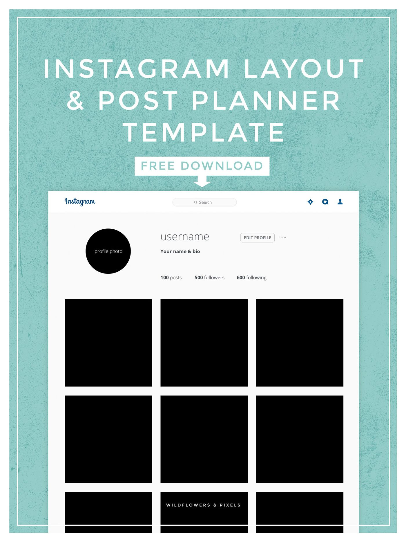 instagram layout post planner template photography pinterest planner template planners. Black Bedroom Furniture Sets. Home Design Ideas