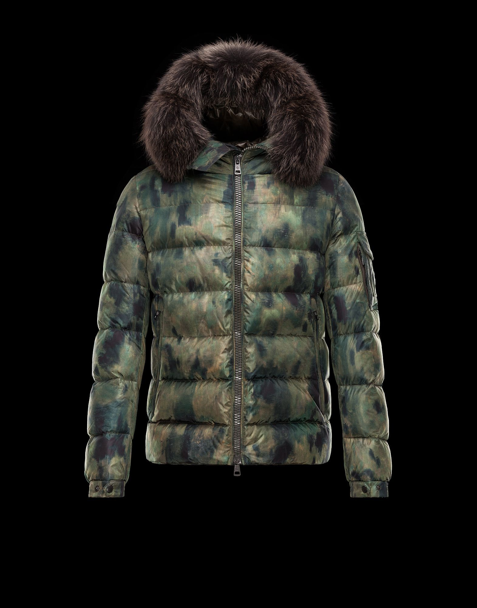 Stay warm this holiday cozying up in Moncler s Byron Coat in camouflage  print with fur- bf86e3f443f