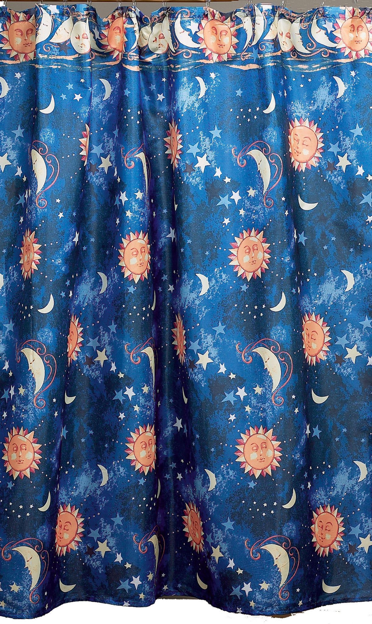 Sun Moon And Stars Astrology Fabric Shower Curtain Fabric Shower Curtains Shower Curtain Sizes