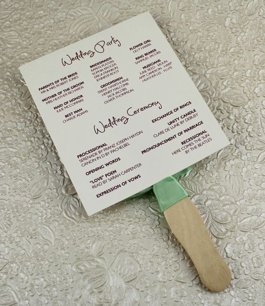 Wedding Program Paddle Fan Template Matelasse Design