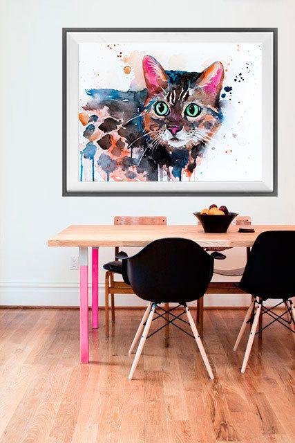 Bengal cat watercolor painting print Cat art animal by SlaviART