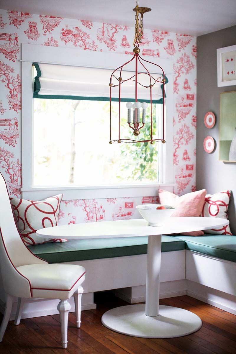 Rue magazine anniversary issue 2011 design by leah ball steen pink white toile wallpaper and green l shaped banquette pink banquette by carmela voltagebd Images