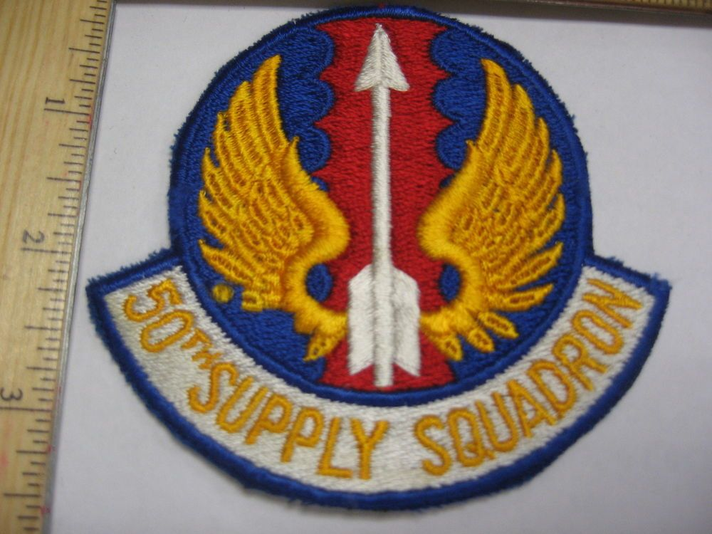OLD USAF AIR FORCE 50TH SUPPLY SQUADRON 50 SQDN WINGS AF