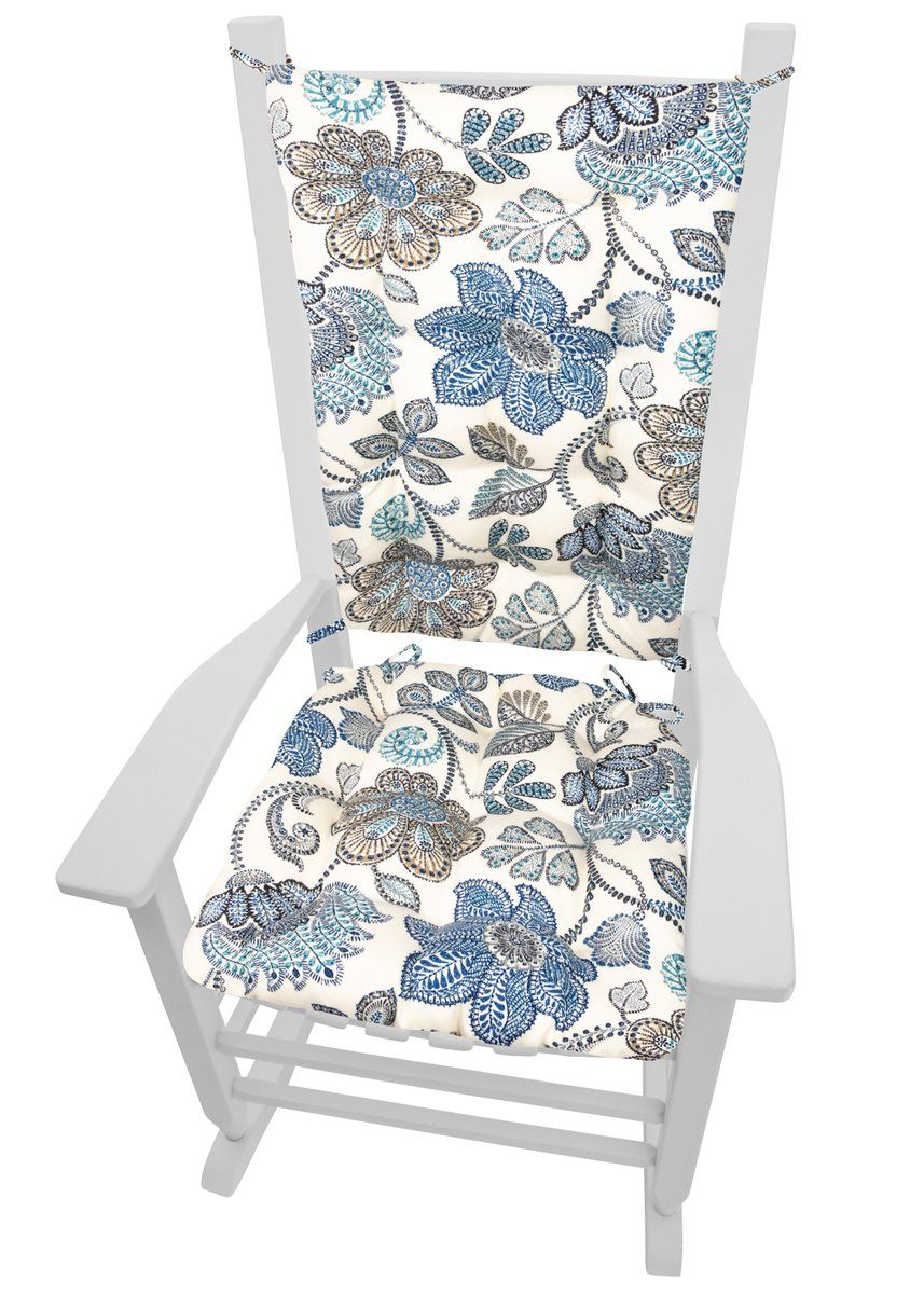 Boutique Blue Floral Porch Rocker Cushions Latex Foam Fill In 2019