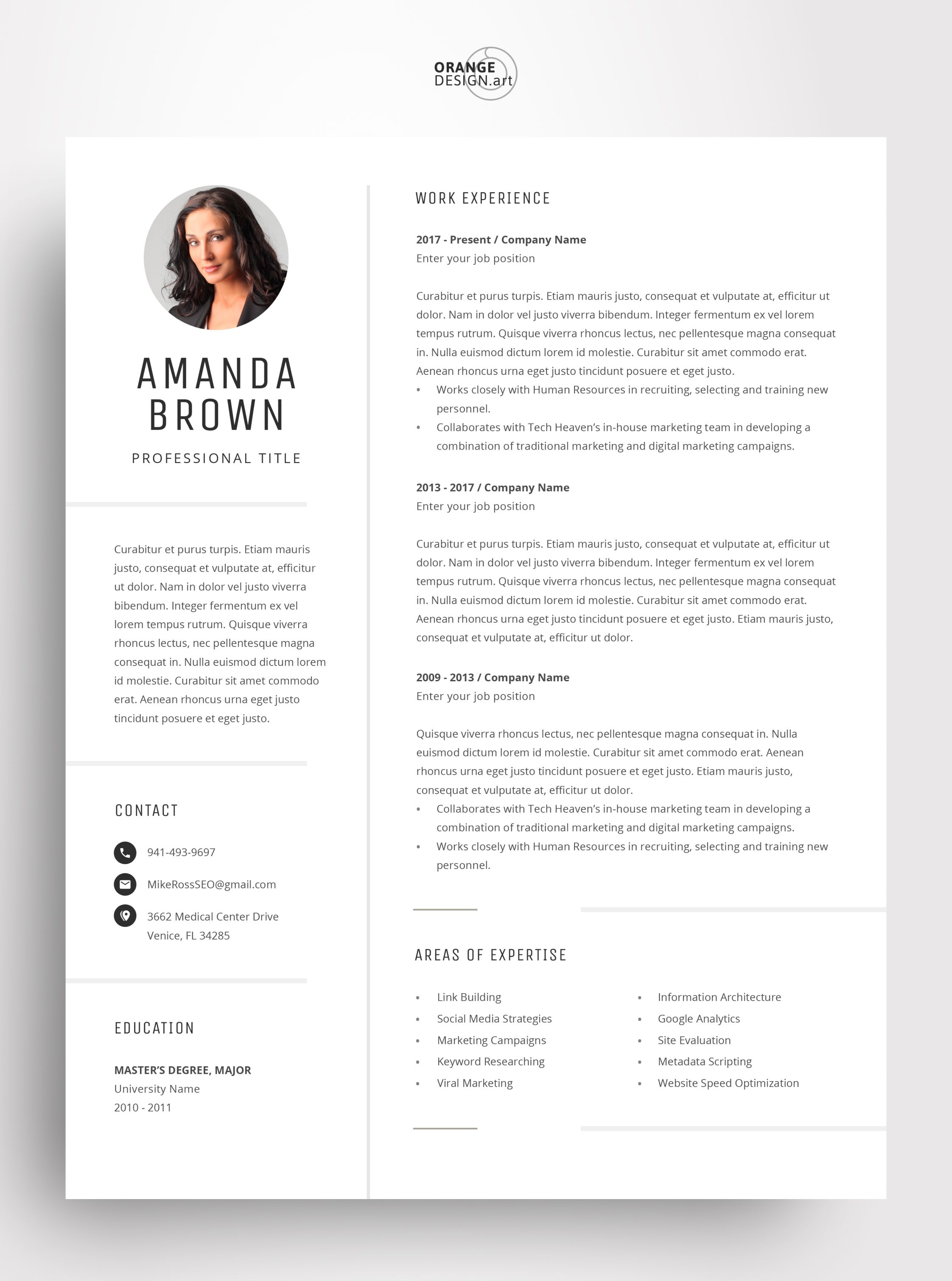 Minimalist Resume Template For Word Project Manager Cv Free Etsy Minimalist Resume Template Resume Template Marketing Resume