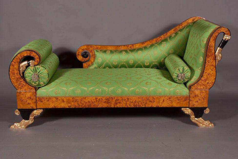 details zu j sam 1 empire schwanen chaise longue sofa liege couch im antiken stil - Liege Chaiselongue
