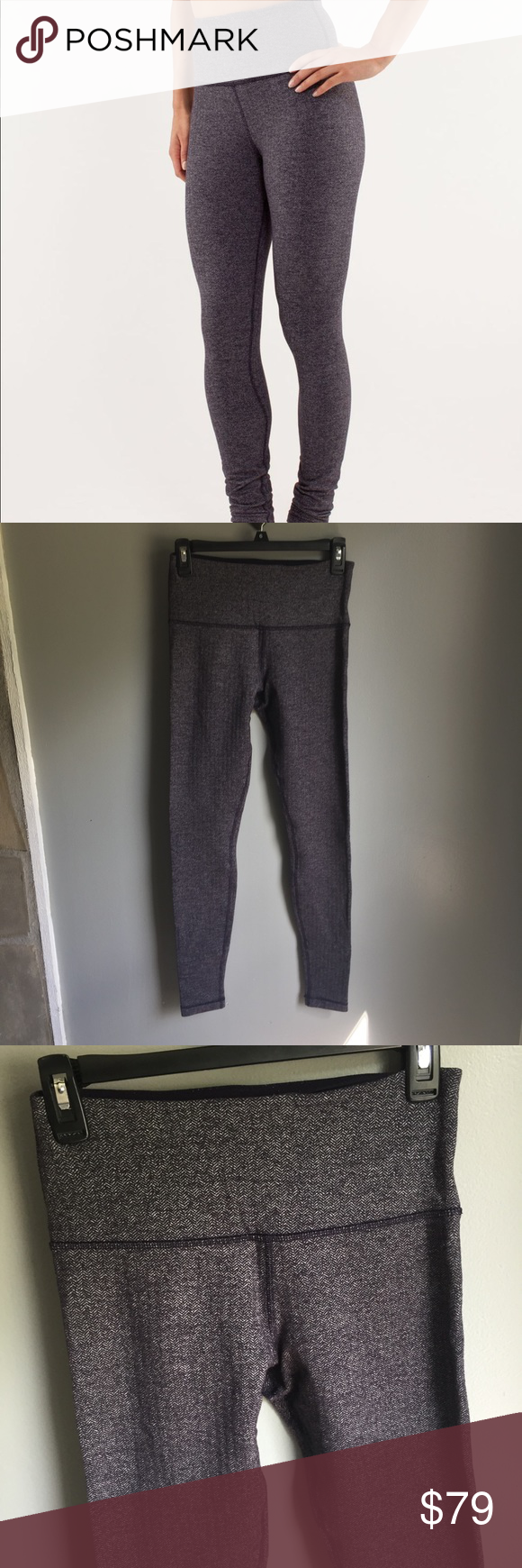 bf8a7c7c6 Lululemon Wunder Under Hi-Rise Black Swan RARE 6 Herringbone pattern high  rise Wunder under in a thicker plush fabric. Color is a navy almost black  with ...