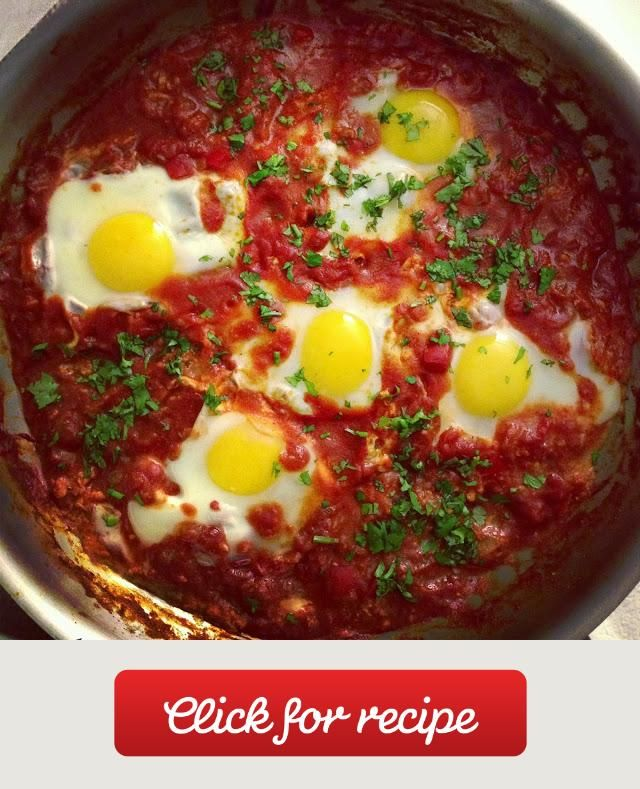 Shakshouka An Israeli dish by way of north Africa, shakshouka is essentially eggs poached in a tomato sauce. Love it!