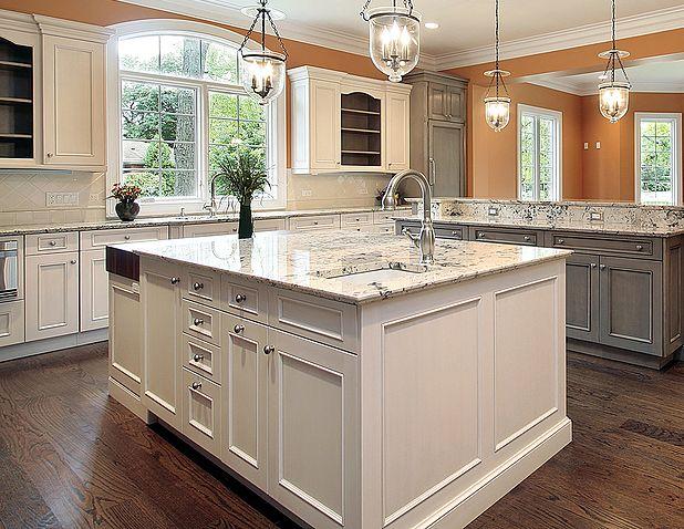 Large White Transitional Island Www Prasadakitchens Com Kitchen Design Kitchen Renovation Custom Kitchen Cabinets