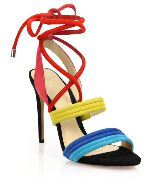 Alexandre Birman | Multicolor Aurora Colorblock Suede Lace-up Sandals | Lyst