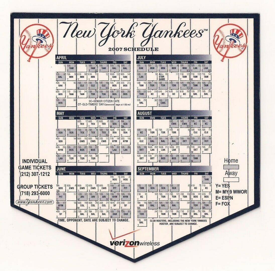 2007 New York Yankees Baseball Magnet Schedule Verizon In 2020 Baseball Game Outfits Baseball Girls High School Baseball Shirts
