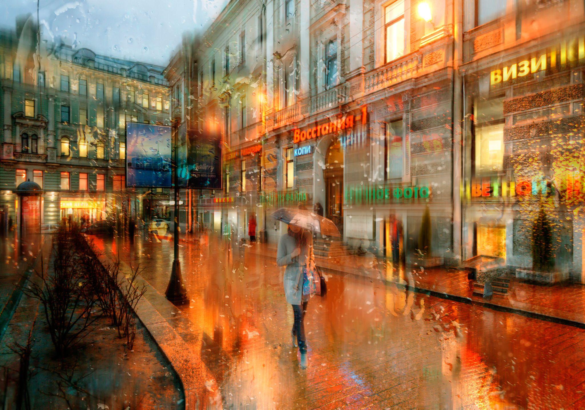 Дождь в городе обои и картинки оптические