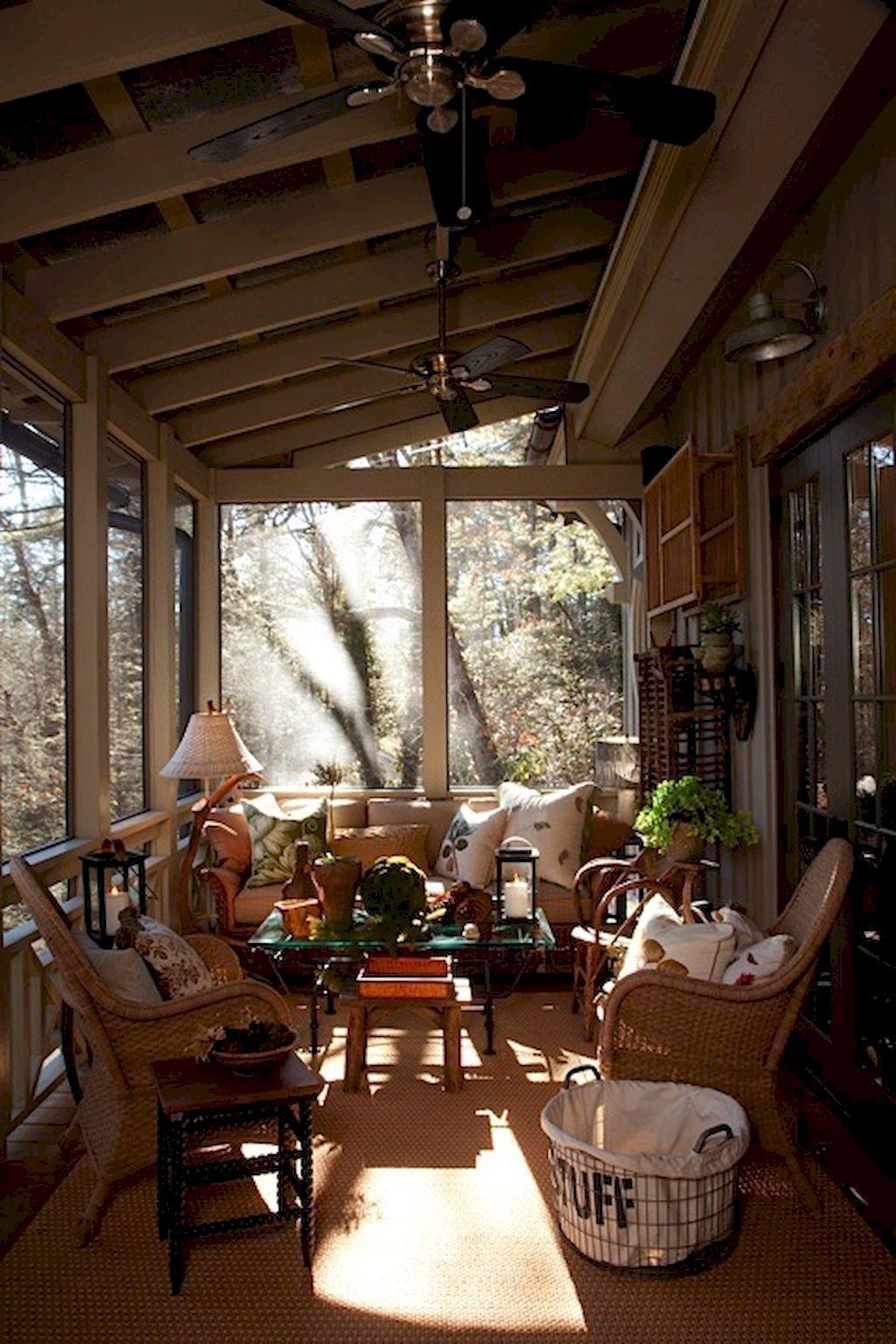 65 Cozy Farmhouse Sunroom Decor Ideas #porchescozyhome