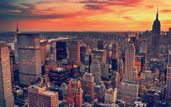 Download Wallpapers New York 4k Sunset Empire State Building Evening Manhattan Usa Skyscrapers Besthqwallpapers Com New York Wallpaper New York City Buildings Sunset City Ultra hd new york wallpaper