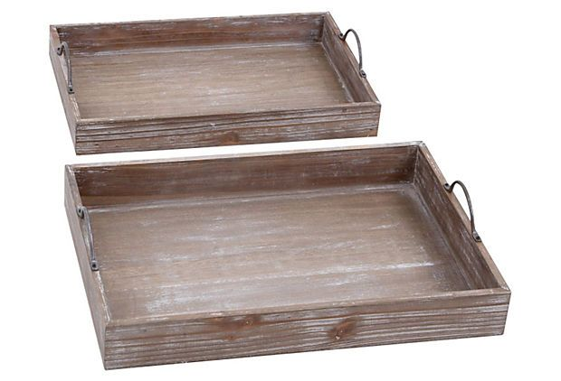 Just Ordered This Set Of 2 Industrial Wood Trays On Onekingslane Today I Can Think Of A Million Ways To Use Them Wood Tray Set Wood Tray How To Antique Wood