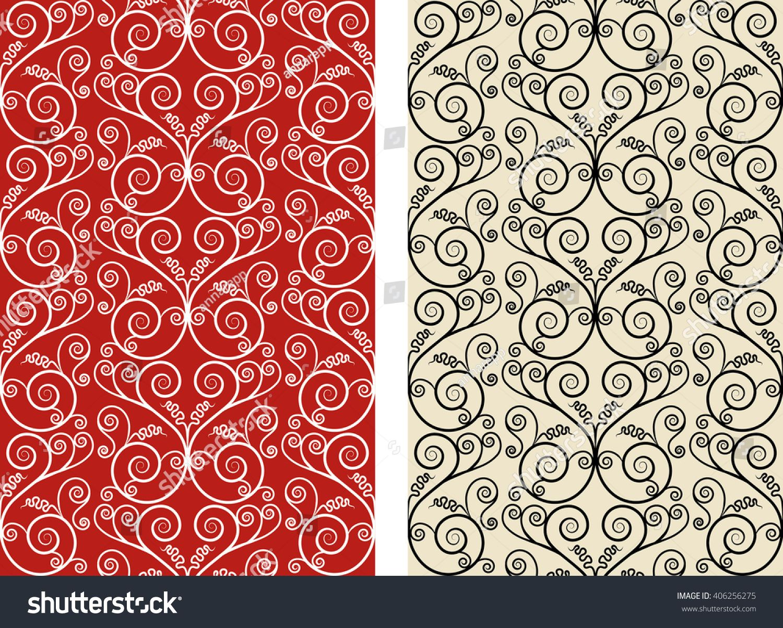 Art Nouveau Elegant Swirl Seamless Vector Pattern Set | DIY Crafts ...