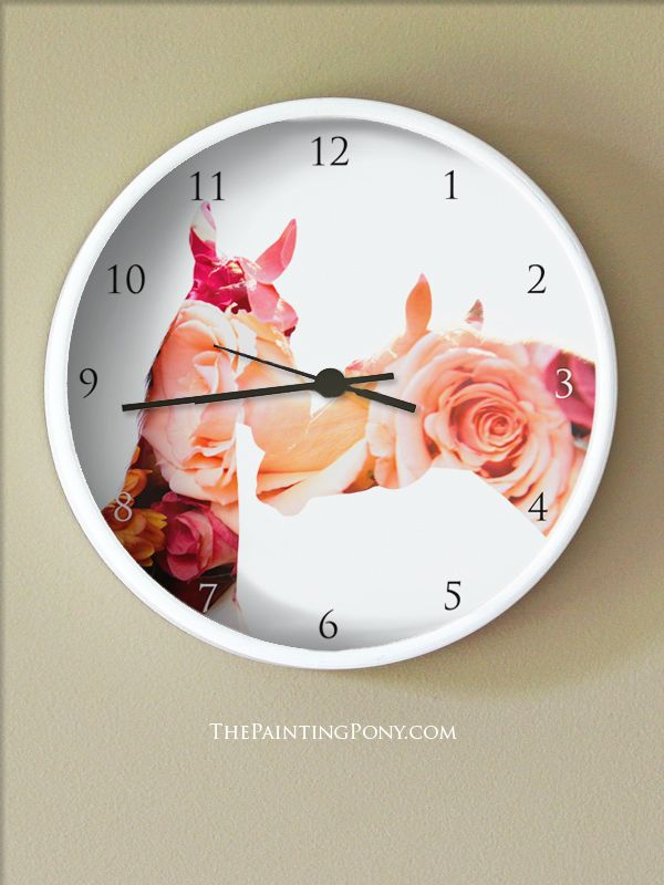Pretty Horse Lover Clock   Equestrian Themed Wall Clock With Two Horses  Nuzzling Each Other With