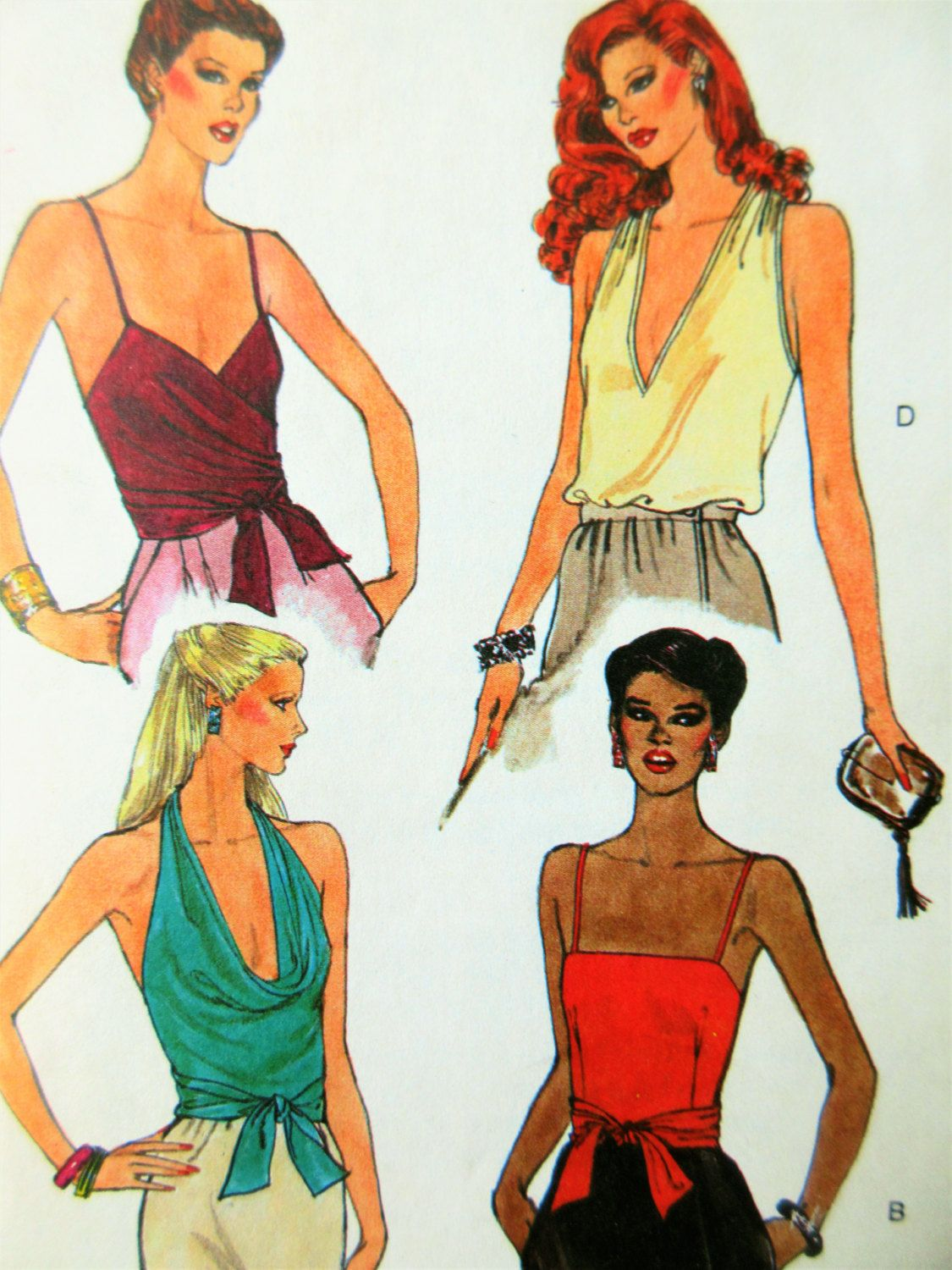 Vintage Vogue 7500 Sewing Pattern 1970s Tops Pattern Halter Tops