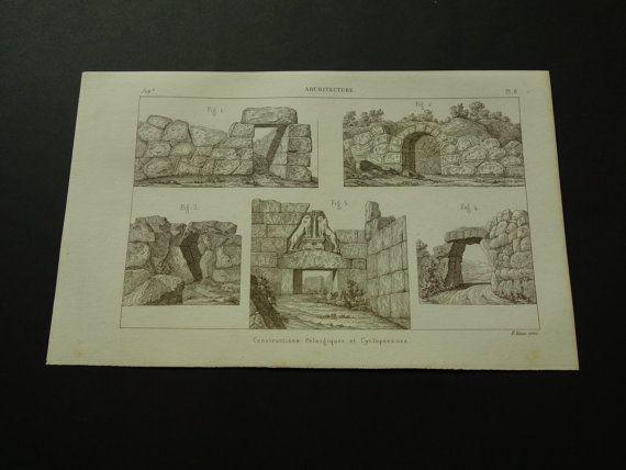 1852 MASONRY old print of cyclopean pelasgian by DecorativePrints