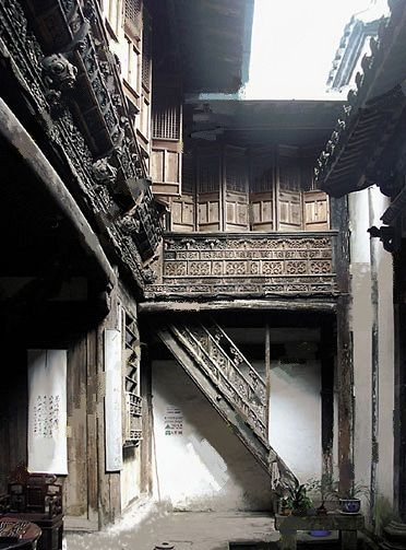 Ancient Chinese house interior courtyard shows possible ideas for