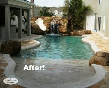 Pool Remodeling And Resurfacing Premier Pools Of Central Fl Beach Entry Pool Small Backyard Pools Pool Patio