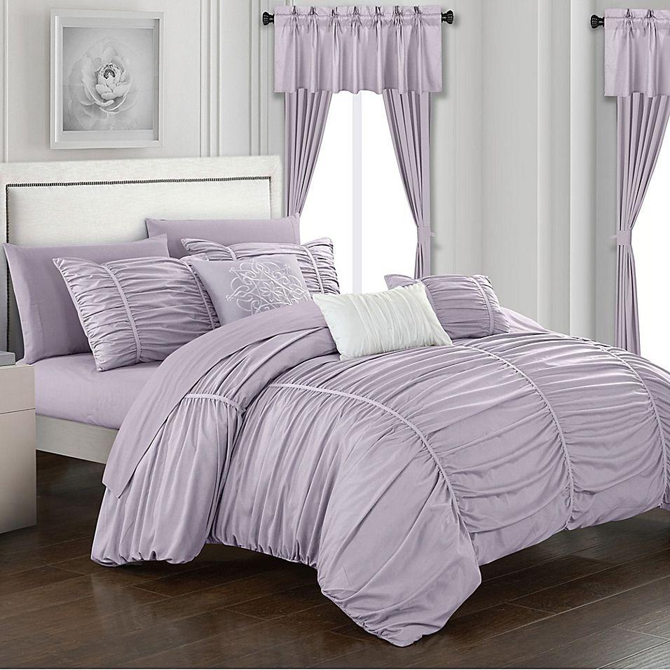 Chic Home Gruyeres 20 Piece Queen Comforter Set In Lilac