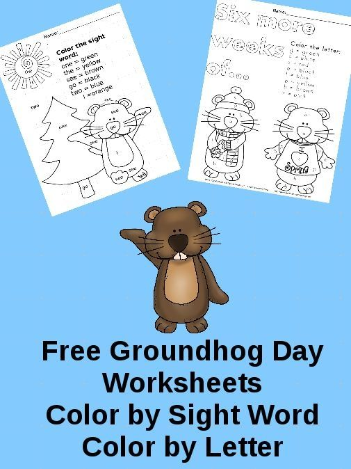Free Groundhog Day worksheets! Color by letter and Color by Sight ...