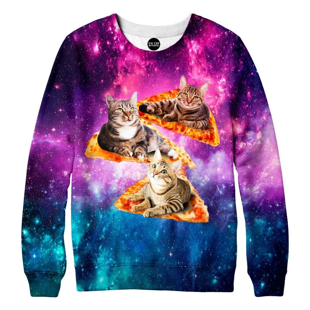 Space Cats And Pizza Sweatshirt Pizza Sweatshirt Sweatshirts Cool Jackets [ 1050 x 1050 Pixel ]