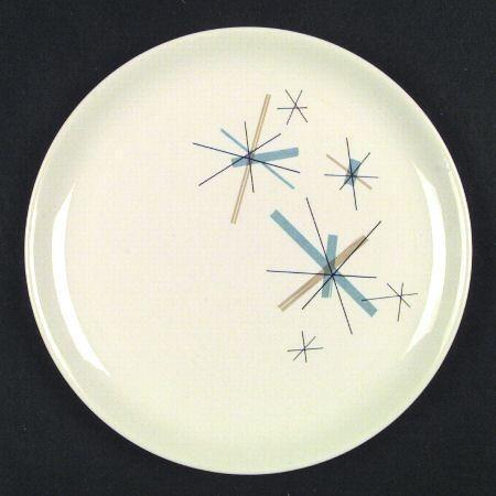 Kitchens & Salem North Star Dinner Plate Turquoise \u0026 Gold Starbursts 10\