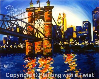 Cincinnati Roebling Bridge Mason Oh Painting Class Painting With A Twist Canvas Art Painting Bridge Painting Painting Class