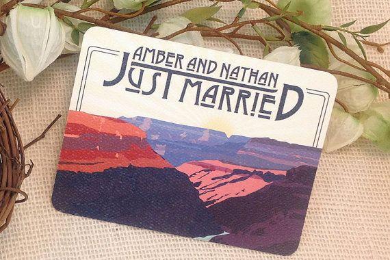 Wedding Invitations Az: Grand Canyon Arizona Just Married Announcement Postcard