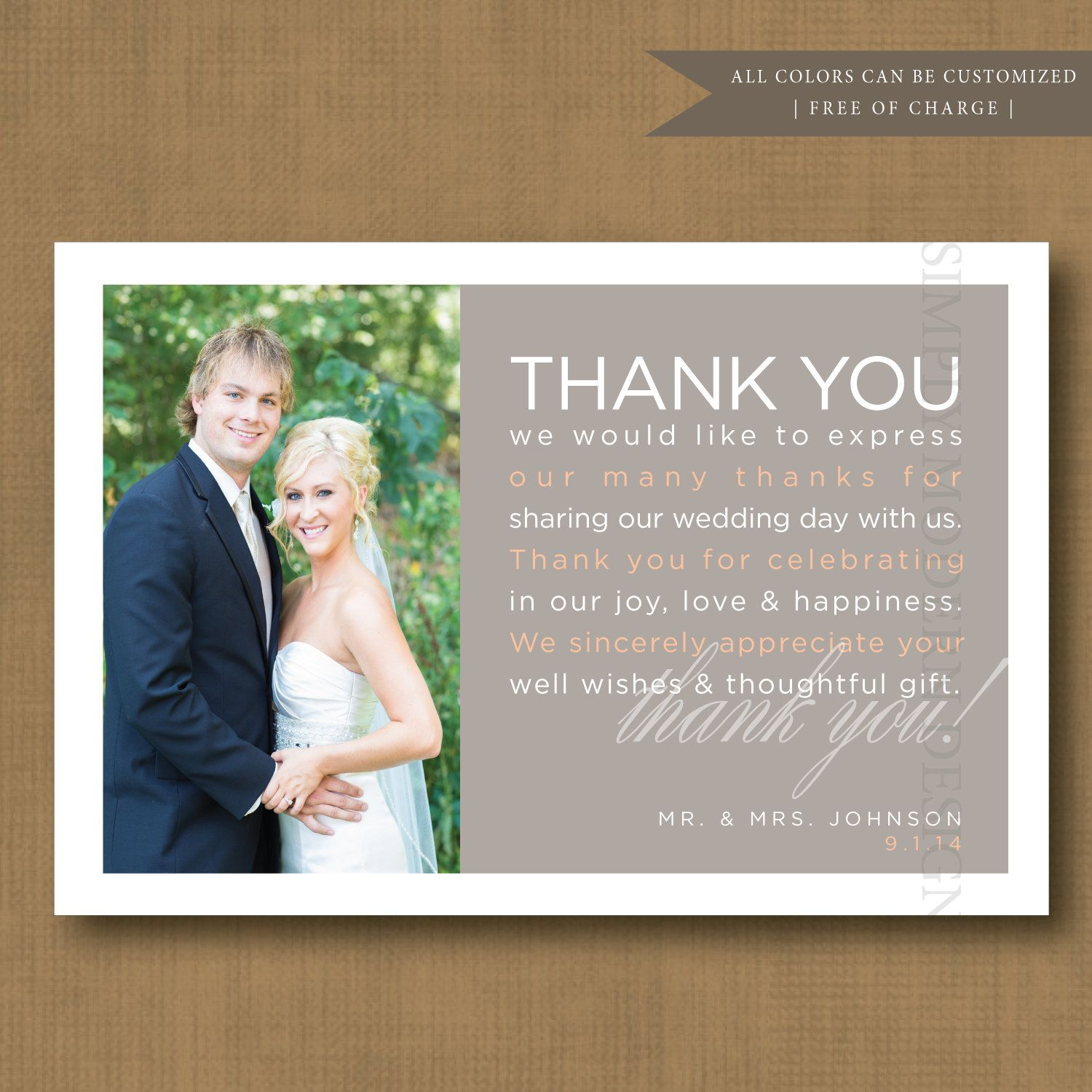 Wedding Thank You Card Modern Guest Thank You Thank You Note